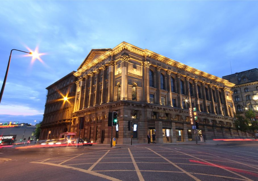 Exterior of St George's Hall at dusk