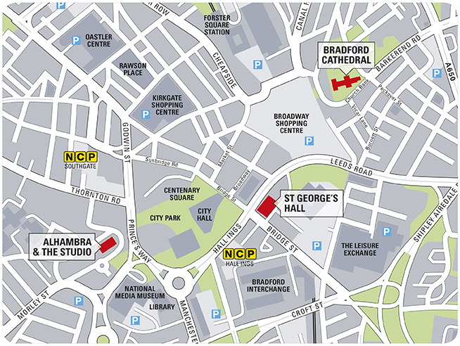 Map of Bradford City Centre highlighting the Alhambra Theatre and The Studio