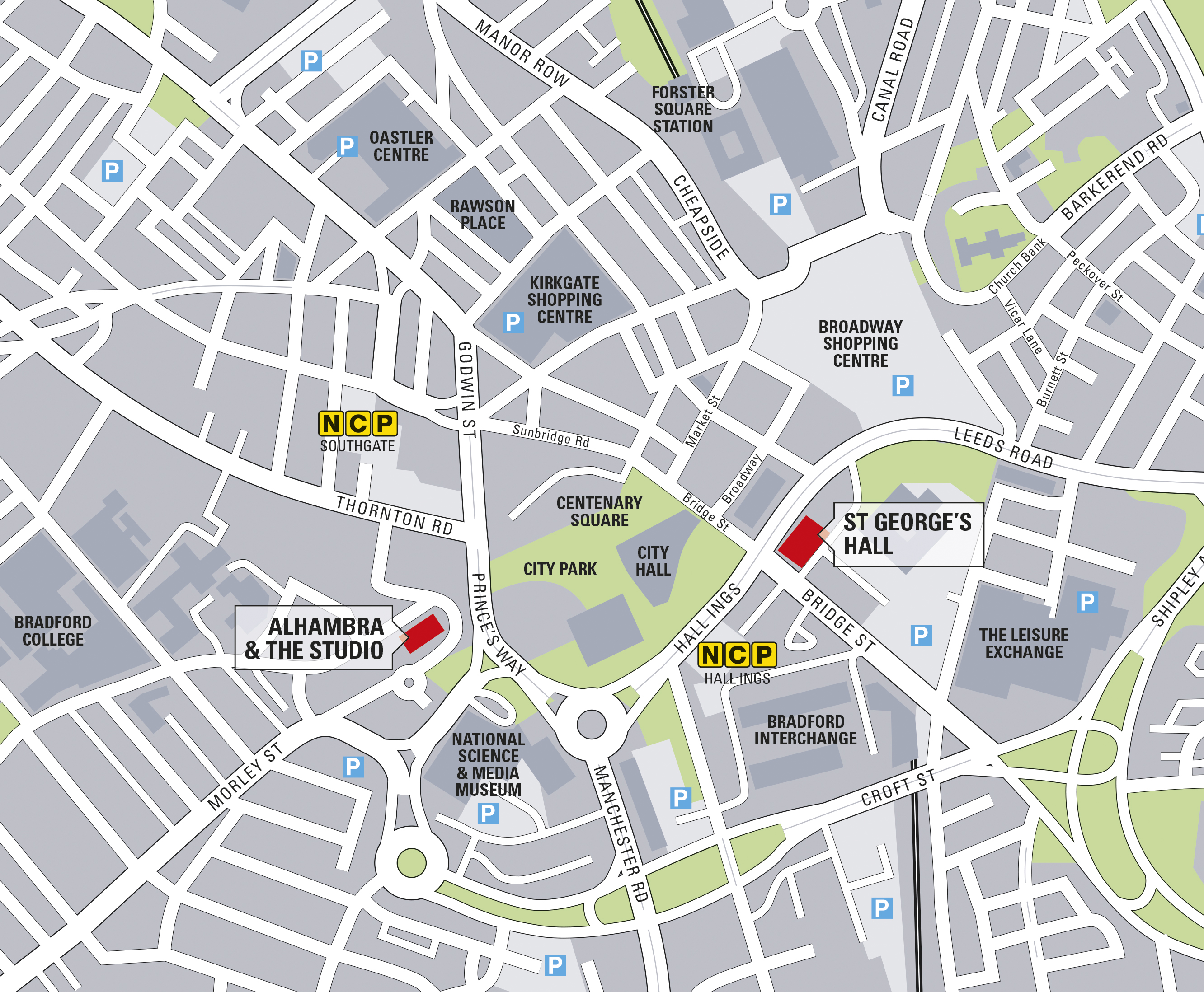 Map of Bradford City Centre highlighting the Alhambra Theatre
