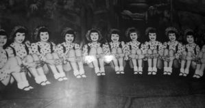 Black and white image of the Sunbeams, a juvenile dance troupe who traditionally perform in pantomime