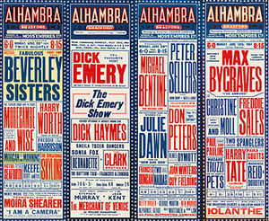 A collection of four old bill posters featuring past performers at the Alhambra Theatre