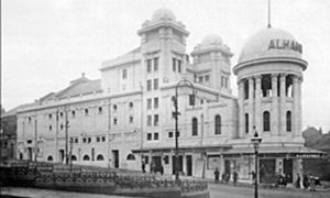 Black and white image of the Alhambra Theatre taken in 1914